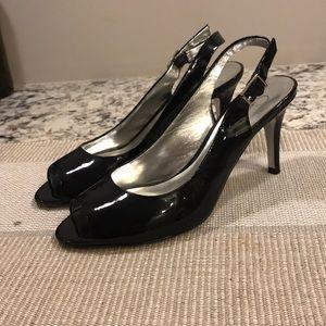 Jessica Simpson Patent Leather Slingbacks, Black